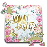 3dRose Uta Naumann Sayings and Typography - Blue Artprint Flower Frame Gold Typography - Mommy Is My Bestie - 10x10 Inch Puzzle (pzl_289851_2)