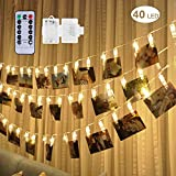 ideas for decorating a bedroom 40 LED Photo Clip Lights - Adecorty 8 Modes Battery Powered Photo Clips String Lights with Remote & Timer, Cards Pictures Holder for Christmas Wedding Dorm Bedroom Decor (14.1ft, Warm White)