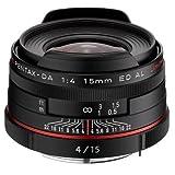 Pentax K-Mount HD DA 15mm f/4 ED AL 15-15mm Fixed Lens for Pentax KAF Cameras (Limited Black)