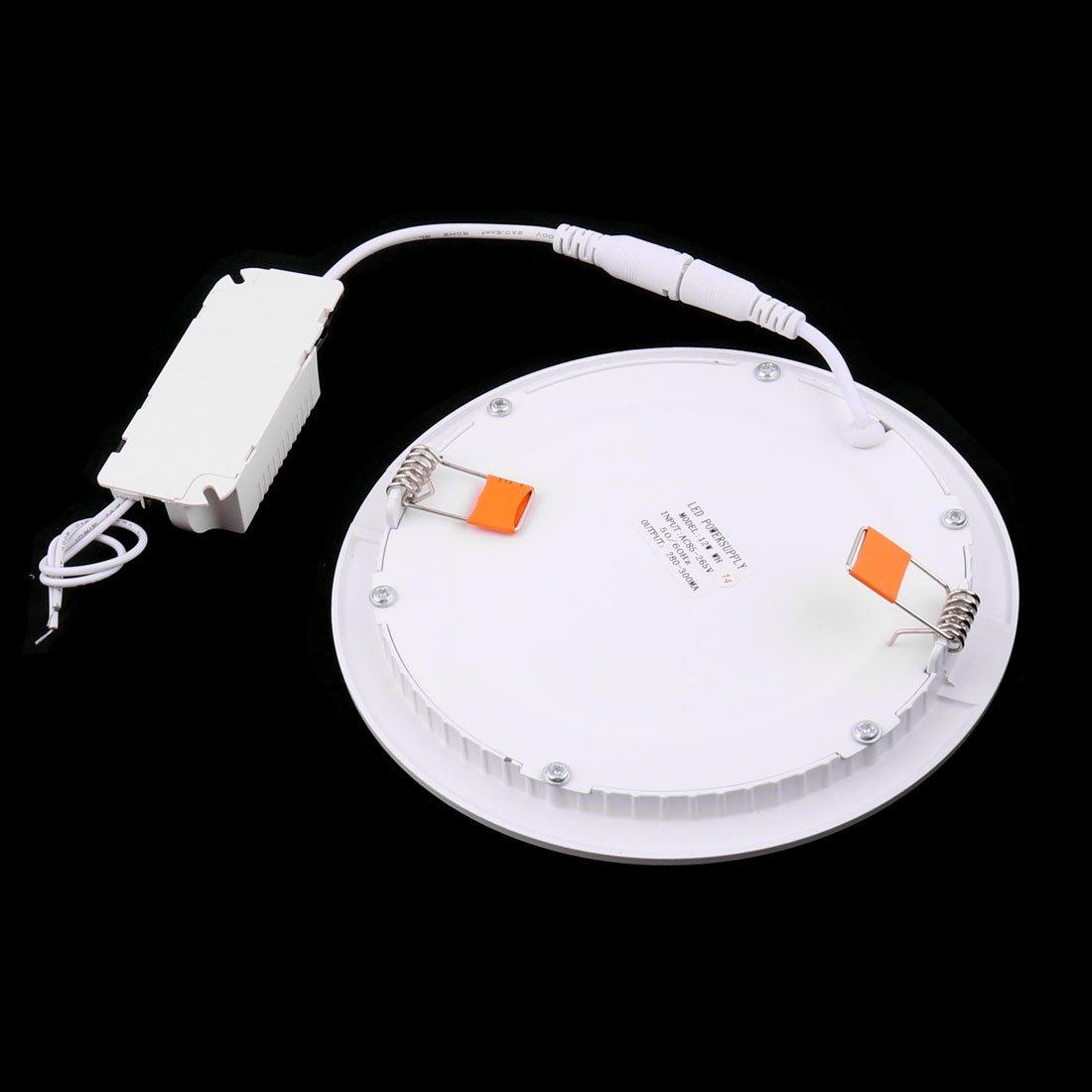 eDealMax blanca 12W Ronda Oficina regulable LED empotrada en el techo Panel de luz de la lámpara AC85-265V - - Amazon.com