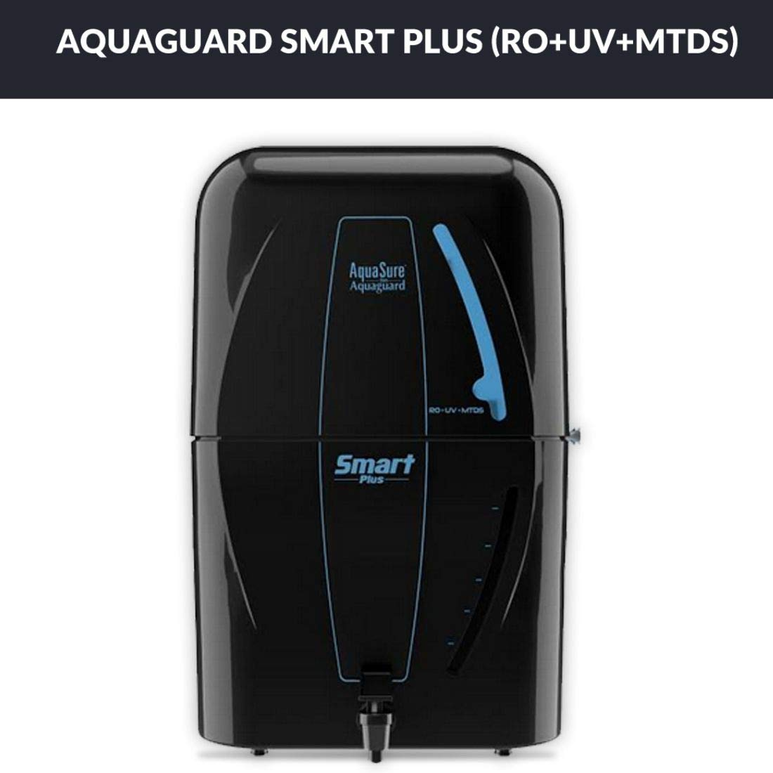 7. Eureka Forbes Aquasure from Aquaguard Smart Plus RO+UV+MTDS Water Purifier,Black
