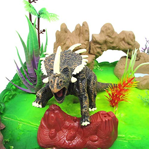 Prehistoric Roaming DINOSAURS 12 Piece Birthday Cake Topper Set Featuring Random Dinosaur Figures and Themed Decorative Accessories