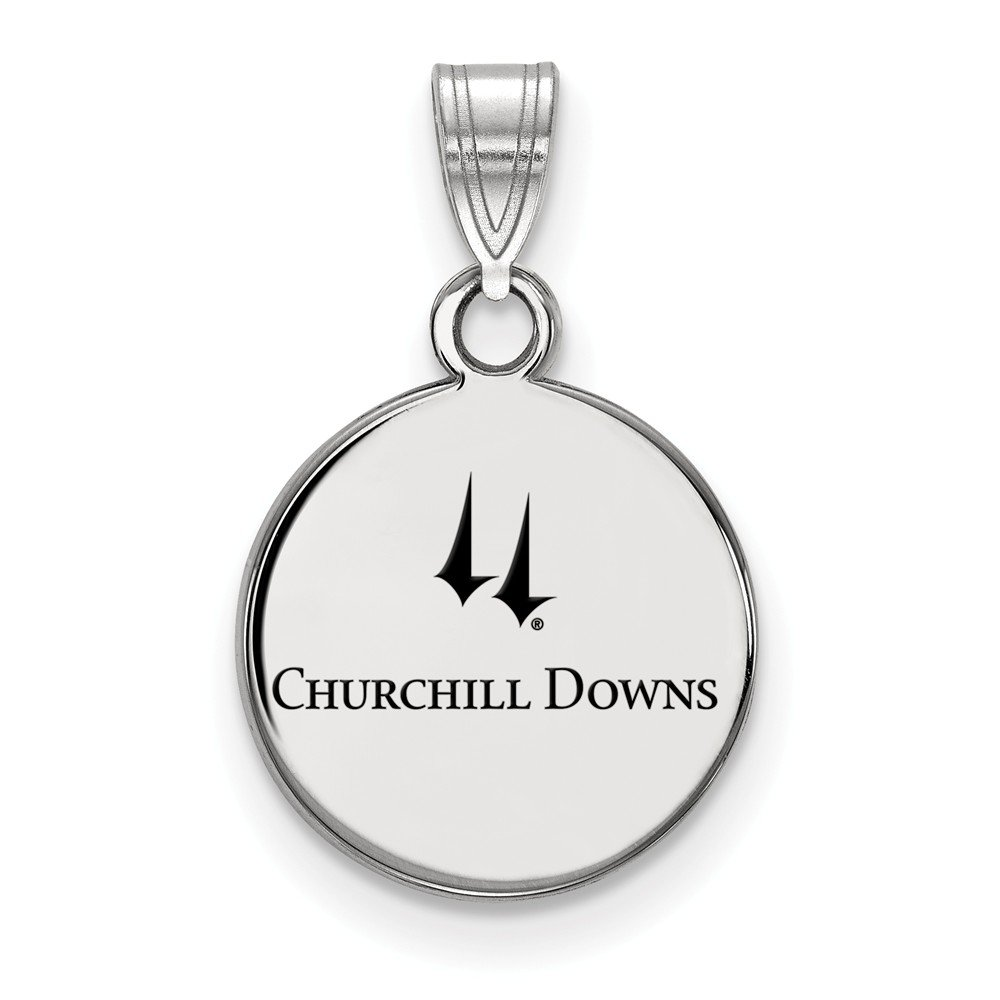 Jewel Tie 925 Sterling Silver Churchill Downs Small Enamel Disc Pendant 12mm x 19mm