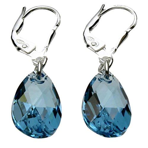 Sterling Silver Leverback Earrings Aqua Blue Pear Teardrop Made with Swarovski Crystals