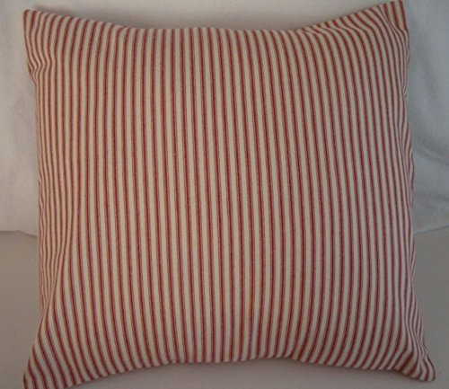 Pillow Cover Red and Natural Ticking Envelope 18 x 18 Farmhouse Country Primitive