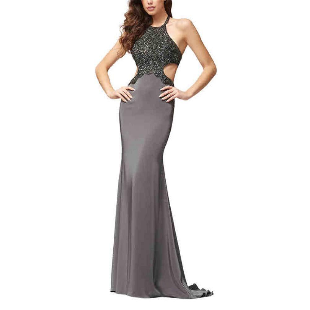 2388613d7b DRLYQYJF Solid Party Dress for Wmen Sleeveless Dress Backless Maxi Dress  Halter Dress Casual: Amazon.ca: Sports & Outdoors