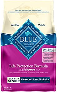 Blue Buffalo Life Protection Formula Natural Senior Small Breed Dry Dog Food, Chicken and Brown Rice 6-lb