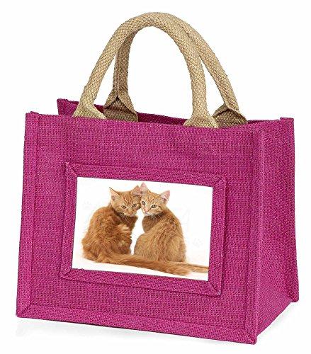 Advanta–Mini Pink Jute Tasche zwei Ginger Kätzchen Kleine Mädchen Kleine Einkaufstasche Weihnachten Geschenk, Jute, pink, 25,5x 21x 2cm