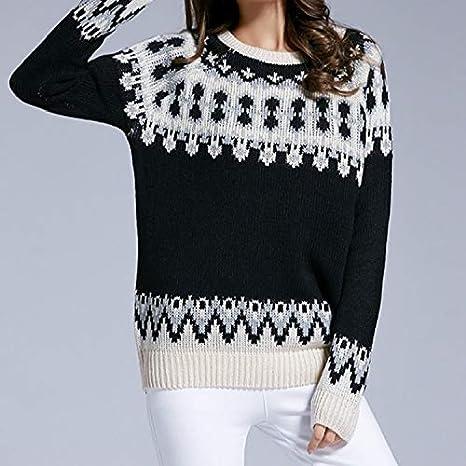 Women/'s Long Sleeve Crew Neck Pullover Wool Sweater Black M//L
