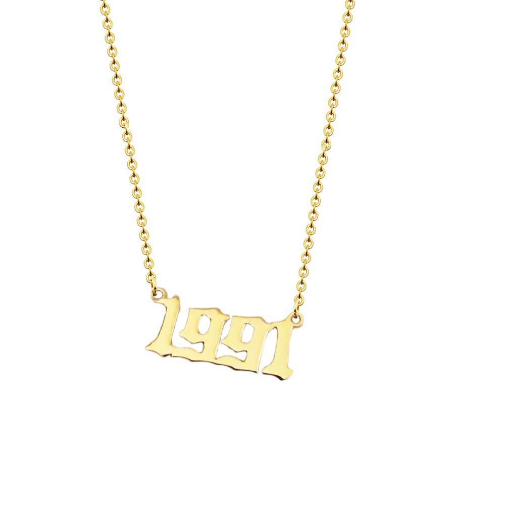 Personalized Old English Number Necklaces Women Custom Jewelry Year  1991~1999 Birthday Gift