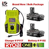 Ryobi 18V P117 Dual Chemistry IntelliPort Charger & Two 18 Volt P102 ONE+ 18-Volt Lithium-Ion Compact Battery (Bulk Packaged)