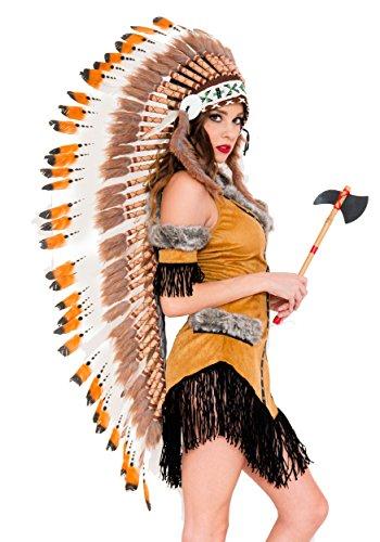 Music Legs Women's Native American Tribe Headdress, Brown, One Size