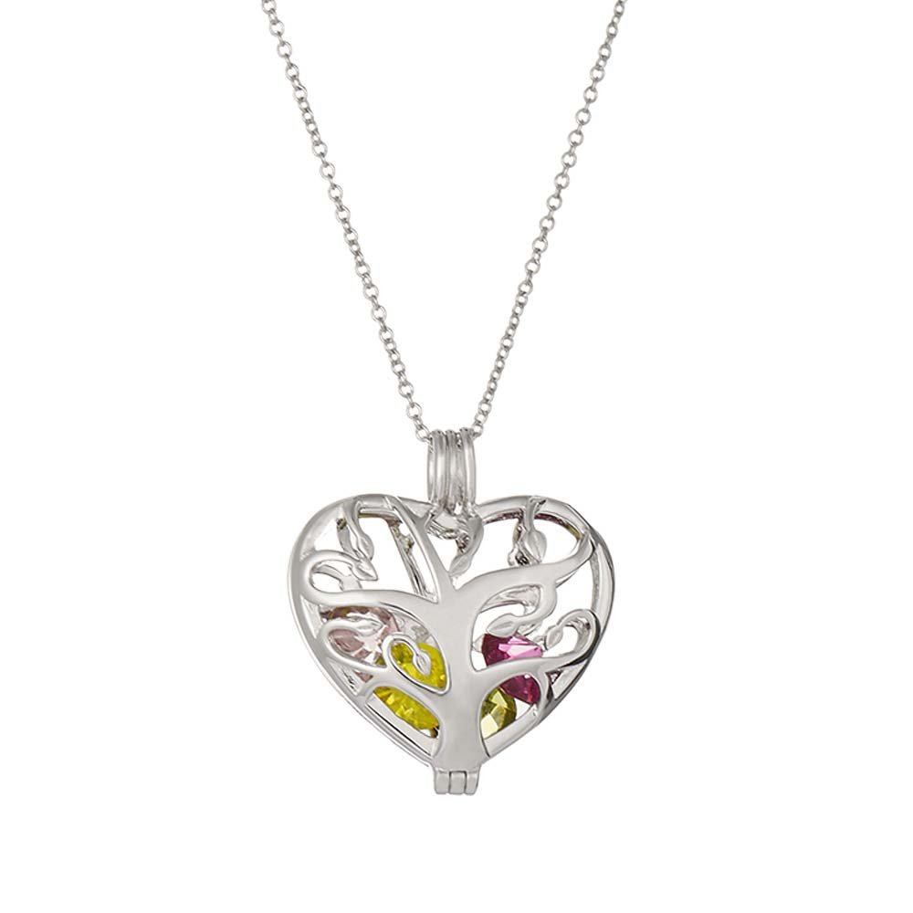 Sterling Silver Personalized 6mm Round Simulated Birthstone Family Tree Heart Cage Locket (16'' chain)