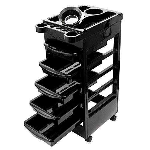 Salon Edge Edge 5 Drawer Beauty Stylist Hair Coloring Trolley Rolling Cart With Mixing Bowl