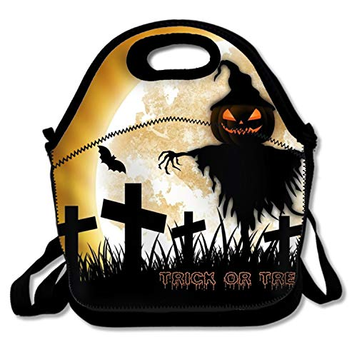Reusable Halloween Trick Or Treat Lunch Tote Bag Waterproof Insulated Lunch Bag Lunch Box Tote Bag Handbag ()