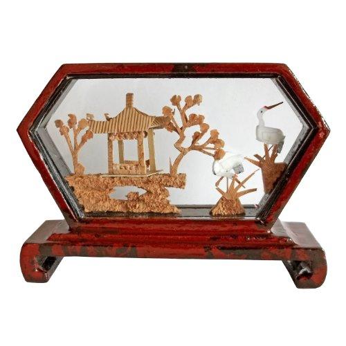 (5001308 Mini Diamond-Shape Cork Art with Pavillion & Cranes - Chinese Cork Sculptures)