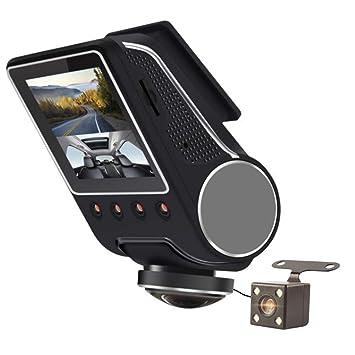 YOUANDMI 360 Grados WiFi Camara Vigilancia Coche,1080P Full HD Dual CAM Camaras para Coches