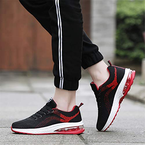 Outdoor Shoes Workout Lace Running Sneakers Gym Exercise Active Cushioning Up Black red SEVENWELL Breathable Air Unisex Sneakers Woven Max Cozy wqWx7F1fIZ