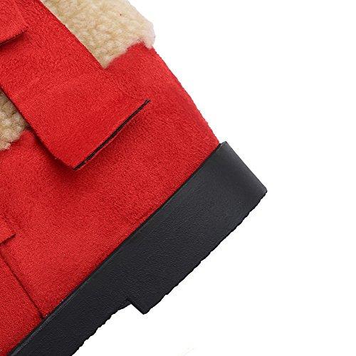 AllhqFashion Mujeres Sin cordones Mini Tacón Gamuza(Imitado) Sólido Caña Baja Botas Rojo