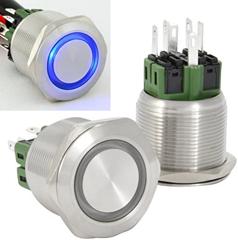 JacobsParts Momentary Pushbutton Starter Switch Stainless Steel Silver with Orange LED fits 5//8 16mm Diameter Panel Cutout Hole