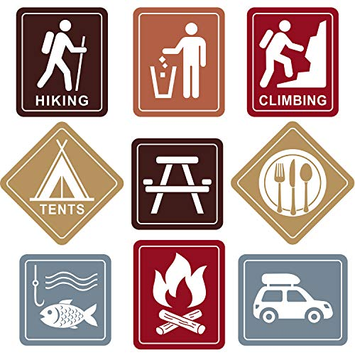 Blulu Camping Themed Party Decorations, 10 - 11.8 Inch Laminated Camping Sign Cutouts, Camping Theme Party Signs, Paper Camping Cutouts with 40 Glue Point Dots (9 Pieces Camping Sign -