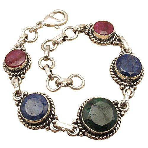 7 7/8 Inch Bracelet ! RUBY, SAPPHIRE & EMERALD Gems ! 925 Sterling Silver Plated Handmade - Ruby Emerald Bracelet Sapphire