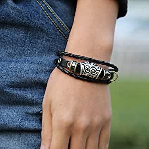 Retro Leather Bracelet Bangles Personality Beads Bracelet For Unisex Men Jewelry Black