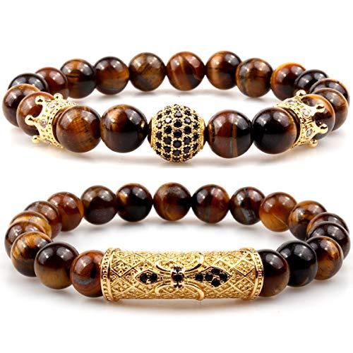 GVUSMIL 8mm Yellow Tiger Eye Natural Stone Beads Bracelet Set Charm Healing Energy Jewelry for Men Women
