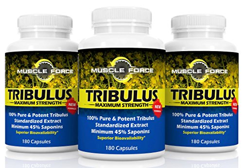 #1 Rated Muscle Force Tribulus Terrestris | Three Bottle Pack - 540 Capsules | 1500mg of Bulgarian Tribulus | 45% Saponins | NEW BIOAVAILABILITY FACTOR | MAXIMIZE TESTOSTERONE LEVELS | Ships (Tribulus Muscle Building)