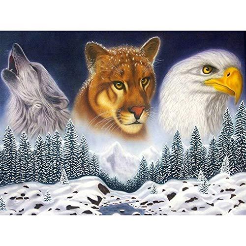 - 5D Diamond Painting Kit Diy Craft Set Full Drill Round - Animal Leopard Wolf Eagle?Artist, 11.8X15.7 Inch Drill Area, Canvas, Tweezers, Quality Fabric(Frameless)