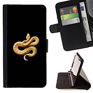 Momo Phone Case / Flip Funda de Cuero Case Cover - Venin de Serpent Jaune Orange - Samsung Galaxy J3 GSM-J300
