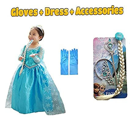 Frozen Elsa Anna Kids Girls Dress Costume Princess Party Fancy Xmas Christmas Clothing, Shoes & Accessories Costumes, Reenactment, Theater