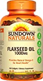 Sundown Naturals Flaxseed Oil 1000 mg, 100 Softgels (Pack of 3)