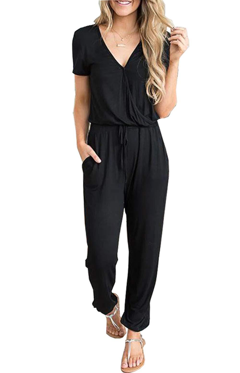 PRETTYGARDEN Off Shoulder Sleeve Hollow Out Sexy Women Bodycon Long Jumpsuit Rompers (Medium, 101002 Black) by PRETTYGARDEN