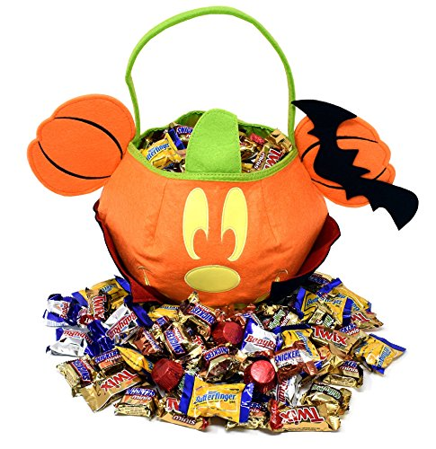 DISNEY HALLOWEEN CANDY GIFT BASKET 3LB - MICKEY Mouse Gift Bag with Assorted Mini Fun Size Chocolates Bars, Twix, Nestle, Kirkland, Snickers and MilkyWay (Gift Treats)
