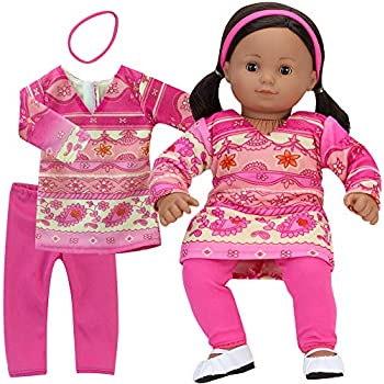 Sophias 15 Inch Pink Print Dress, Pink Leggings and Headband 3 Piece Baby Doll Outfit