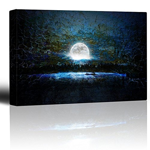 Glowing Full Moon Over a Blue Background with Brush Strokes - Canvas Art Home Decor