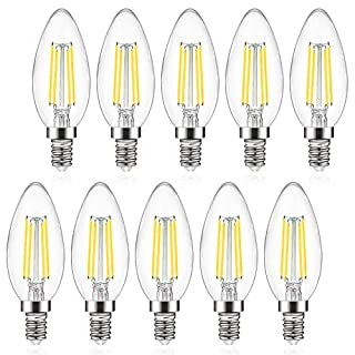 Defurhome E12 Candelabra LED Bulbs, 550LM, 60W Incandescent Equivalent, Daylight White 5000K, Non-Dimmable, C35 Filament Glass Bulb, Decorative Candle Light Bulbs - Pack of 10