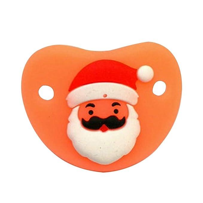 Chupete Infantil Artículo de Navidad de Chupete de Silicona de Grado alimenticio Ideal para bebés de 0 a 3 años (Papá Noel)