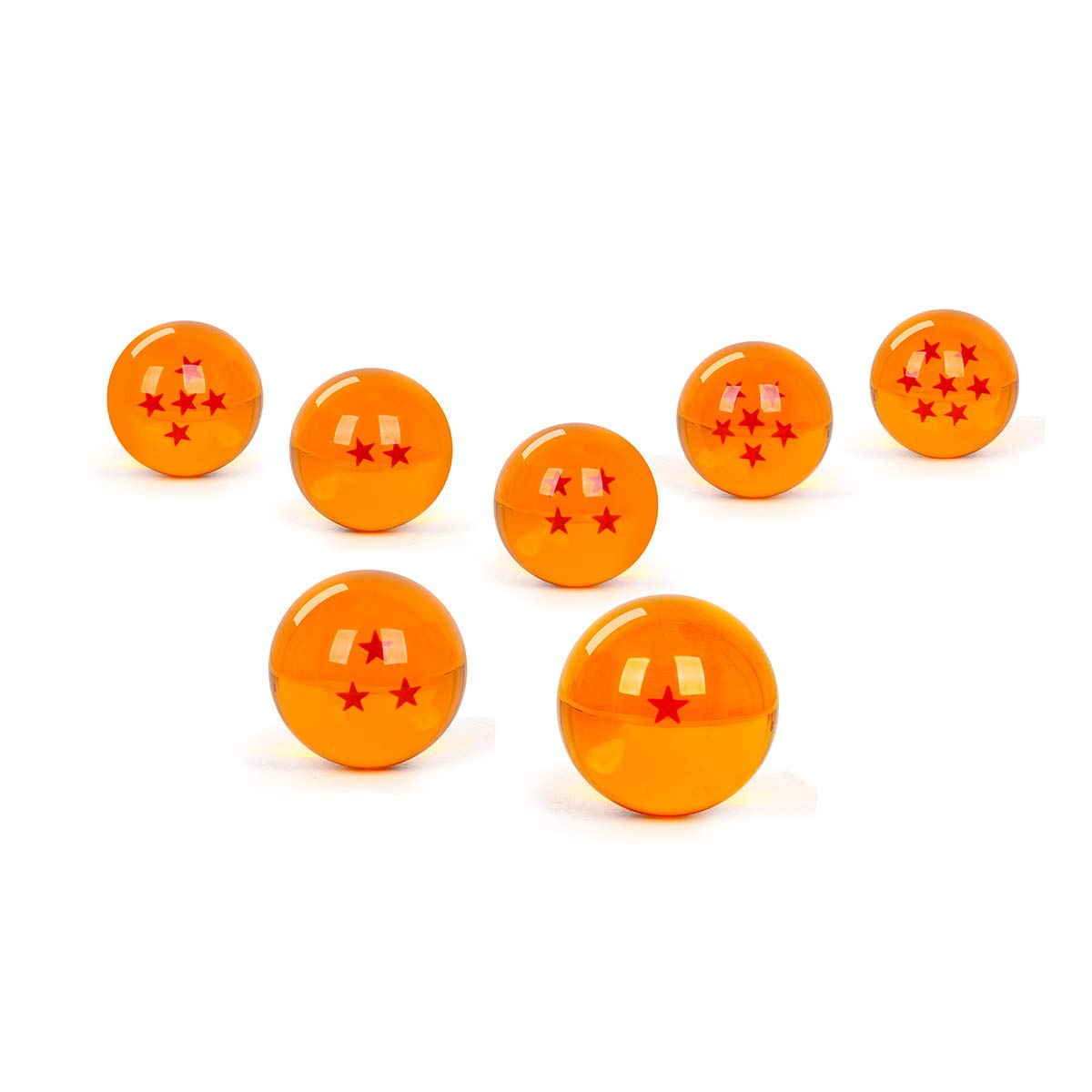 WeizhaonanCos Unisex Acrylic Resin Transparent Stars Balls Glass Ball Dragon Ball Cosplay Props Kids Play Toy Gift Set of 7pcs 43mm/1.7 in in Diameter (Orange) by WeizhaonanCos (Image #2)