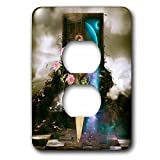 3dRose Heike Köhnen Design Fantasy - Women of the earth with flowers - Light Switch Covers - 2 plug outlet cover (lsp_262392_6)