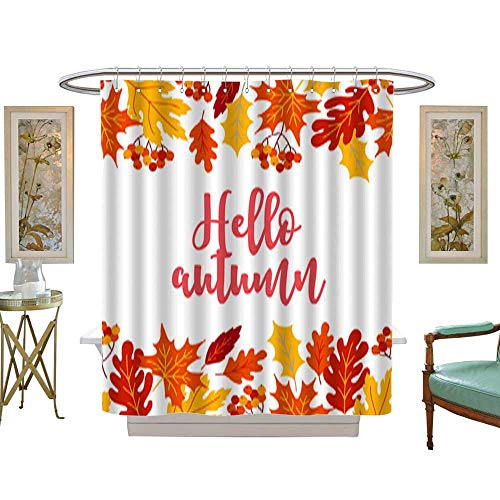 Iuvolux Polyester Fabric BathroomAutumn Greeting Card with Seamless Border - rowanberry Maple Oak Leaves. Shower Curtain Set with Hooks W54 x H84 Inch