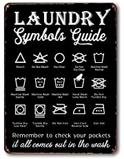 Goutoports Laundry Room Vintage Metal Sign Symbols Guide Decorative Signs Wash Room Home Decor Art Signs