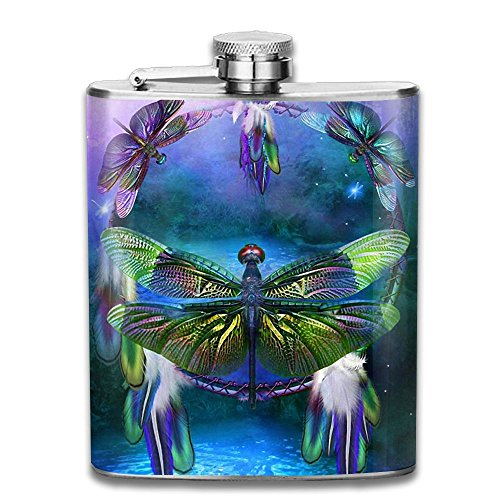 Dragonfly Dream Dreamcatcher Outdoor Portable Stainless Steel Flagon Liquor Hip Flask Set (Pink Dragonfly Dreams)