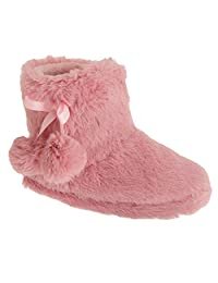 Childrens Girls Plush Boot Slippers With Pom-Pom Detail