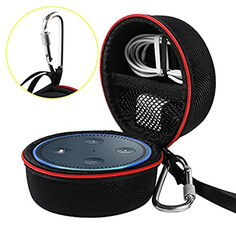 Travel Portable Carrying Protective Hard Case Box Pouch for Amazon All-New Echo Dot(2nd Generation) with Carabiner(Fits USB Cable and Wall Charger) (Black(Red (Summer Echoes)