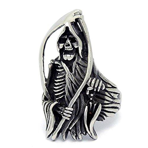 Adisaer Ring Stainless Steel for Men Vintage Finger Rings Gothic Halloween Ghost Skull Size 11