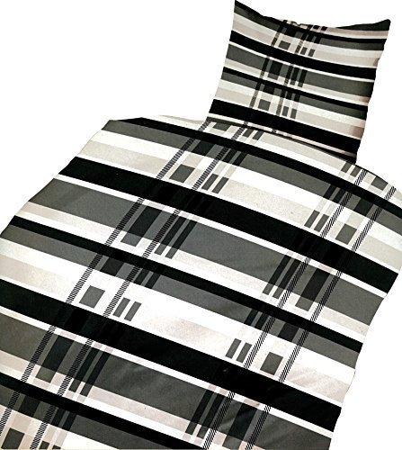 Leonado Vicenti 4 tlg. / 2x2 tlg. Bettwäsche 135 x 200 cm in schwarz/grau kariert aus Microfaser Set mit Reißverschluss