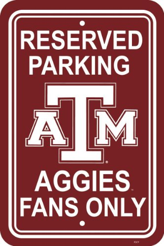 Fremont Die NCAA Texas A&M Aggies 12-by-18 inch Plastic Parking Sign