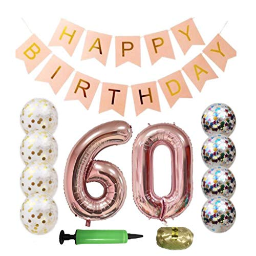 QTW 60th Birthday Party Supplies - Rose Gold 60th Birthday Balloon, 60th Birthday Banner, Confetti Balloon Decoration, Female 60th Birthday, use Them as Photo Props (Rose Gold 60) -
